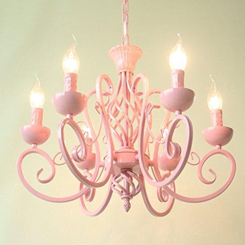 Elegant and Graceful Pendant Candle Iron Chandelier 6light Ceiling Light Girl Bedroom Living Room Chandeliers (Color : Pink)