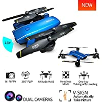 Mini Drone with Camera Live Video BIZONOD SG700 WIFI FPV Rc Quadcopter with Dual 2.0MP Optical Flow Camera Auto-photograph Folding RTF Remote Control Rc Helicopter Toy for beginners Kids(Blue)