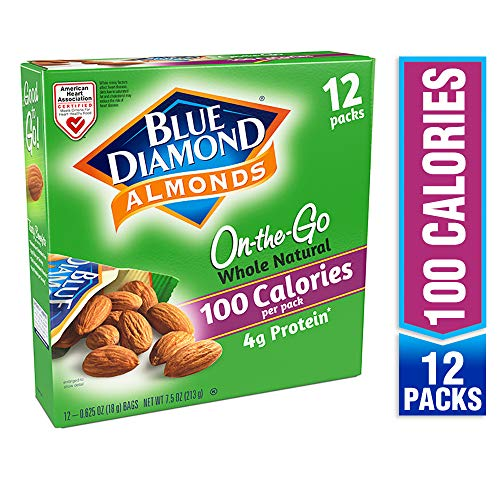 Blue Diamond Almonds On the Go 100 Calorie Packs, Whole Natural, 12 Count ()