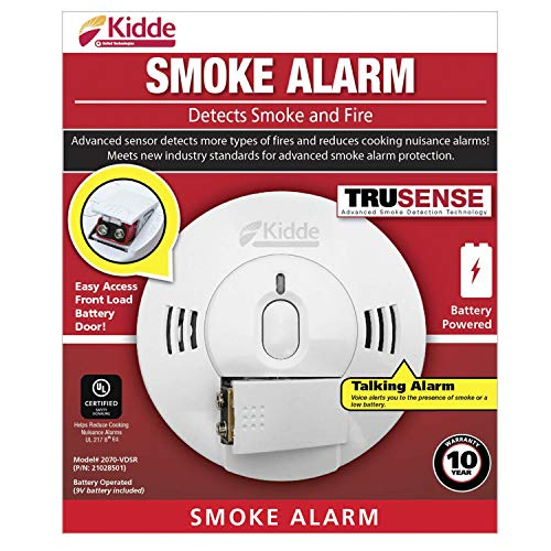 Best Smoke And Carbon Monoxide Detector 2020.Kidde 21028501 Dc Smoke Alarm Detector With Trusense Technology Front Load Battery Voice Notification Model 2070 Vdsr White