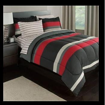 Amazon Com Black Gray Red Stripes Boys Teen Twin Xl
