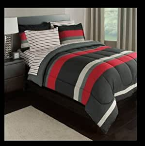 boys twin bed in a bag black gray stripes boys teen xl 9315