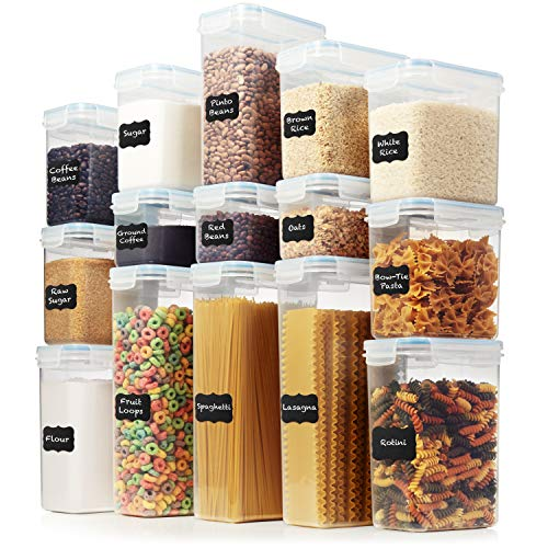 LARGE Set of 30pc Airtight Food Storage Containers (15 Container Set) – Amsha Kitchen & Pantry Organization – BPA-Free…