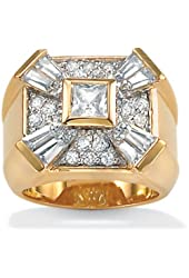 Royal Palm Jewelry 3673610 Men's 2.47 TCW Square Round Baguette Cubic Zirconia 18k Yellow Gold Over Sterling Silver Ring - Size 10