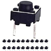 20 Pcs 6 mm 2 Pin Momentary Tactile Tact Push Button Switch Through Hole Breadboard Friendly for the Panel PCB by QTEATAK