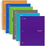 Five Star Spiral Notebooks, 1 Subject, 100 College Ruled Sheets, Assorted Trend Colors, 6-Pack (38057)