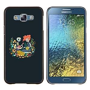 "Be-Star Único Patrón Plástico Duro Fundas Cover Cubre Hard Case Cover Para Samsung Galaxy E7 / SM-E700 ( Cráneo Redhead Chica Dibujo azul de la primavera"" )"