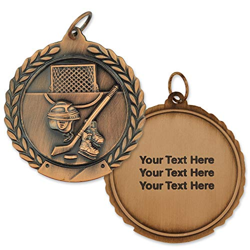 (PinMart Engraved Personalized Hockey Sports Medal 3rd Place-)