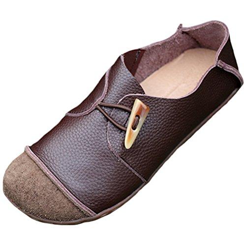MatchLife Damen Retro Schnürsenkel Handgefertigte Leder Flache Schuhe Style3-Kaffee