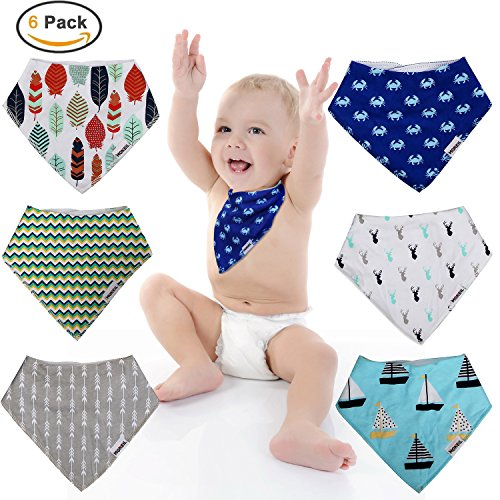 Baby Bandana Drool Bibs,6-pack Organic Cotton Soft Absorbent for boys girls by MONEIL (Image #5)