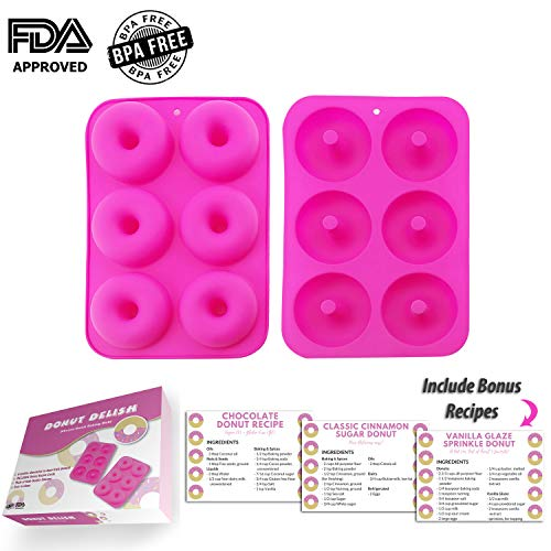 DONUT DELISH 2-pack Donut Baking Molds - Includes BONUS Recipe Cards & Gift Packaging - Non-Stick, BPA FREE, FDA Approved, 100% Food Grade Silicone - Makes 12 Donuts
