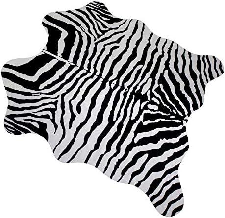 MustMat Faux Zebra Print Area Rug 4.5×5.2 Feet Cute Soft Black and White Animal Print Carpet
