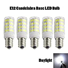 YFH LED Candelabra Light Bulbs 50 Watt E12 Bulb Warm White (3000K),120 Volt,550LM LED Replacement Bulb for Chandeliers and Ceiling Fan (Pack of 5) (Daylight 4W)