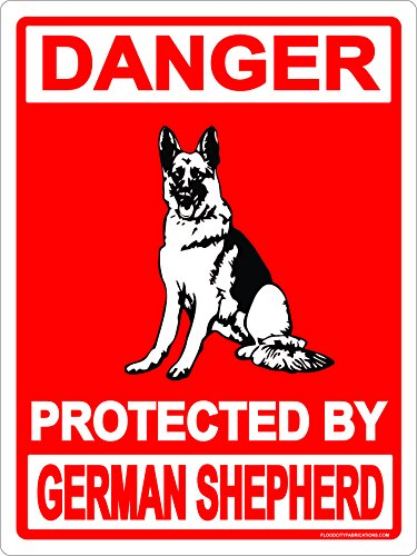 German Shepherd Metal Sign Danger Protected By 9x12 Aluminum Dog Keep Out Warning Animal House Garage Business (Shepherd Sign)