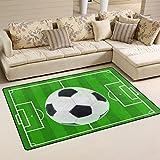 WOZO Soccer Green Field Sport Ball Area Rug Rugs Non-Slip Floor Mat Doormats Living Room Bedroom 60 x 39 inches