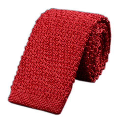 (Men Vintage Ugly Blackish Hot Apple Red Tie Knitting Necktie for Adults Day Gift)
