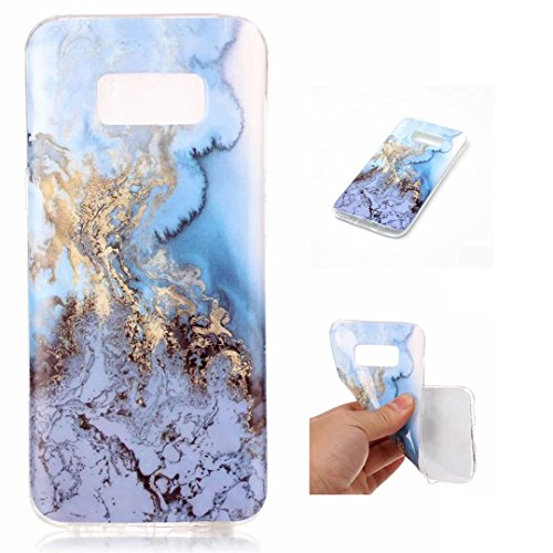 FuBaoBao Samsung Galaxy S8 Case, Marble Series [Stone Texture Collection] Anti-scratch Soft TPU Bumper Protective Durable Case Cover - Water blue