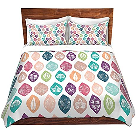DiaNoche Designs Spring Leafs Pattern Cover Brushed Twill Twin King 7 Queen Duvet Sham Set