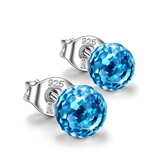Earring Kids Aquamarine (NINASUN Earrings for Girls Fruit Drops 925 Sterling Silver Earrings Aquamarine Swarovski Crystal Earrings Jewelry for Women Birthstone Birthday Gifts for Daughter Girlfriend Graduation Gifts for Teens)