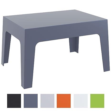 CLP Mesa de Exterior Box de Plástico I Mesa Auxiliar de Jardín I Mesa de Plástico Resistente a Rayos UV I Mesa de Jardiín Apilable I Color: Gris ...