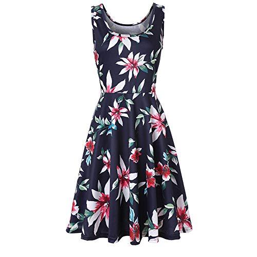 Yoonsoe Women's Summer Sleeveless Slim Flared Dress Casual Floral Knee Length Sundress, ZQSY03, ()