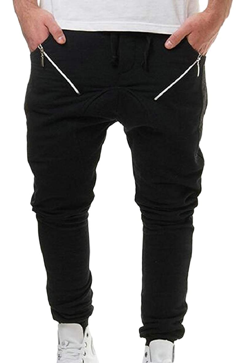 Tymhgt Mens Casual Track Pants Stretch Elastic Waist Slim Jogger Trouser
