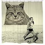 Movie shower curtain, cat shower curtain, cat lovers gift, hitchcock, north by northwest, funny shower curtain, movie poster, fathers day gift, yellow, sepia, photo shower curtain, gift for boyfriend