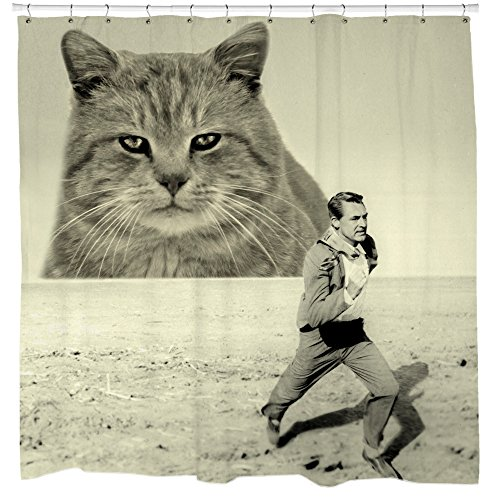 Funny Kitten Cat Shower Curtain Set Hitchcock Retro Movie Poster Art Waterproof & Mildew Resistant Fabric 12 Hooks included