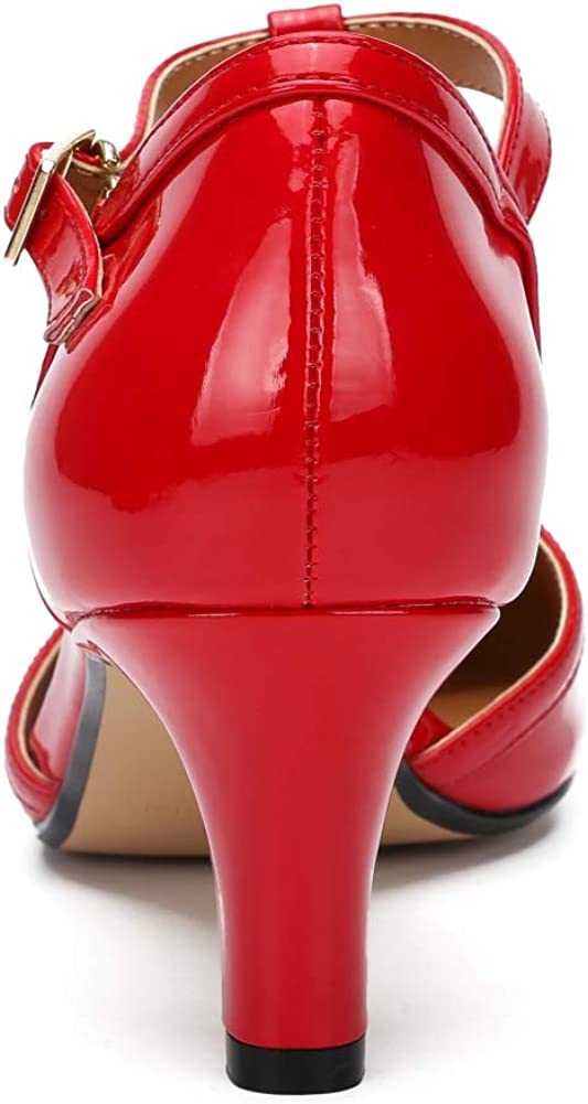 Womens Ladies Mid Low Block Heel Comfort Rubber Sole Court Shoes Sandals A Red