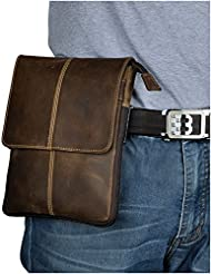 Leaokuu Mens Genuine Leather Fanny Waist Pack Messenger Shoulder Bag Cross Body