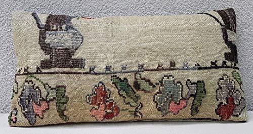 Vintage Lumbar Pillow Cover, Floral Pattern Turkish Pillow, Armchair Kilim Cushion, Handmade French Decor Needlepoint Tapestry Aubusson Kilim Rug Cushion 12'' X 20'' (30 x 50 Cm)
