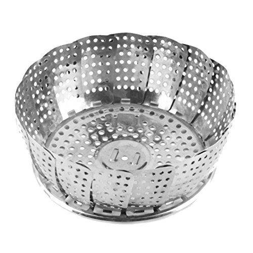 Stainless Steaming Basket Folding Food Fruit Vegetable Dish Steamer Cookware