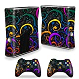 Protective Vinyl Skin Decal Cover for Microsoft Xbox 360 S Slim + 2 Controller Skins Sticker Skins Color Swirls, Best Gadgets