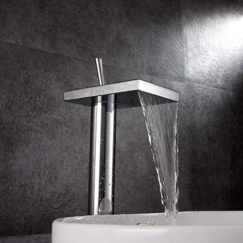 ZJN-JN 蛇口 実用的な銅広場のバスルーム洗面滝の蛇口クローム単穴ホットとコールドカウンター盆地の下でカウンター盆地バスタブ蛇口美しいです 台付 (Size : Click to select Short)