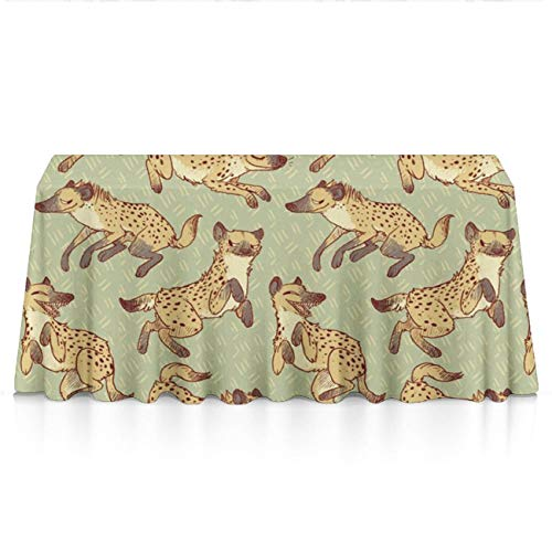 Stain Resistant Waterproof Rectangular Tablecloths - Hyena Patterns Seasonal Decor, Square Or Round Tables Table Cloths for Dinner Parties, Wedding