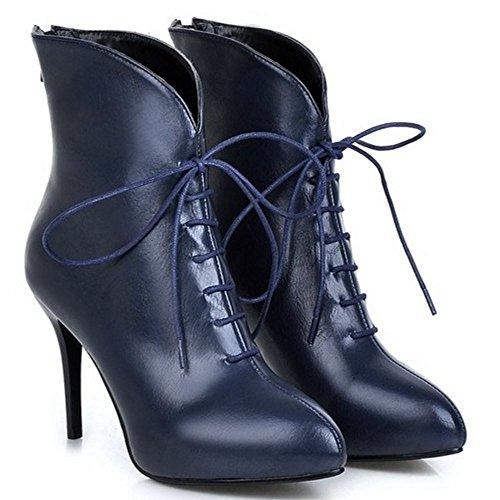 Blue Women Zipper Boots RAZAMAZA Back q1SOOwU