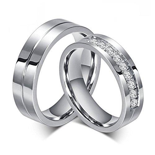 BOBIJOO Jewelry Alliance Bague Anneau Plaque Or Blanc Platine Mariage Fiancaille Couple Au