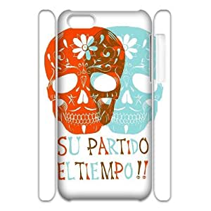 QSWHXN Skull Art 3 Phone 3D Case For Iphone 5C [Pattern-2]