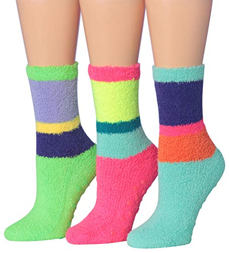 Tipi Toe Women's 3-Pairs Cozy Microfiber Anti-Skid Soft Fuzzy Crew Socks(FZ12-B) by Tipi Toe (Image #3)