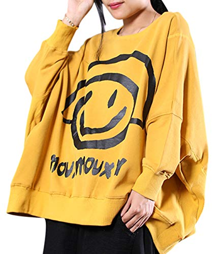 (YESNO WN6 Women Casual Loose Sweatshirt Plus Size Pullover Tops Cute Smile Face Printed Crew Neck Long Sleeve Yellow)