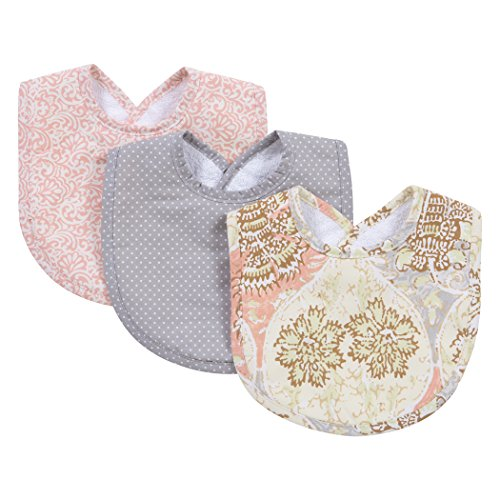 Trend Lab Waverly Rosewater Glam 3 Piece Bib Set, Pink/Cream/Gray/Green (Bib Cream)