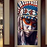 FimGGe 3 Panels Canvas Art Portrait Wall Pictures Indian Woman Feathered Painting for Living Room Home Decor Art Printed L1480- with Frame,40cm*60cm*3pcs