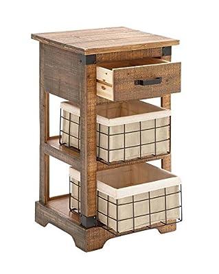 "Deco 79 53255 Wood Metal Basket Side Table, 16"" x 29"""