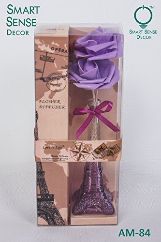 Smart Sense Eiffel Tower Glass Purple Flower Vase Reed Diffuser Set, Aromatherapy Essential Oil Set Natural Incense Reed Diffuser With Decorative Dried Flowers Lavender(Purple)