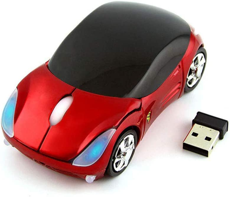 Colorful 3D Sport Car Shape Mouse 2.4GHz Wireless Mouse 1600DPI 3 Buttons Optical Ergonomic Gaming Mice with USB Receiver for PC Laptop Computer (Red)