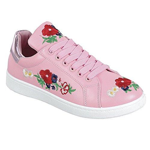 Snj Dames Geborduurd Platform Mode Sneakers Roze Geborduurd