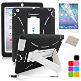 TKOOFN Heavy Duty Silicon Defender Multilayer Protective Shell Military Shockproof Bumper Case Cover with Built in Stand for Apple iPad 2 / iPad 3 (The New iPad) / iPad 4 (iPad with Retina Display) + Screen Protector + Stylus + Cleaning Cloth, Black/White - PT7701