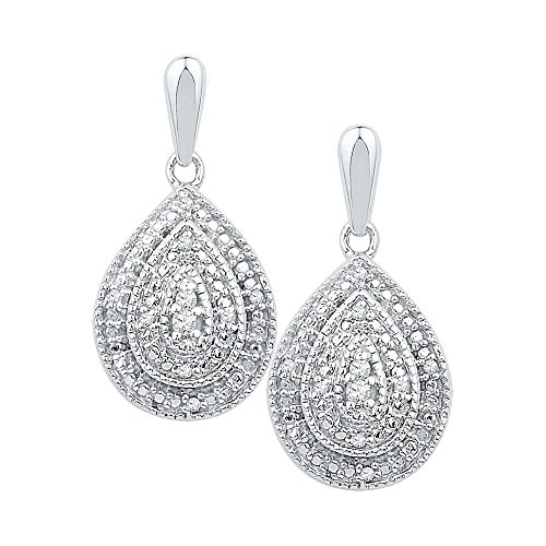 Roy Rose Jewelry 10K White Gold Ladies Diamond Milgrain Teardrop Screwback Dangle Earrings 1/10 Carat tw - Milgrain Dangle
