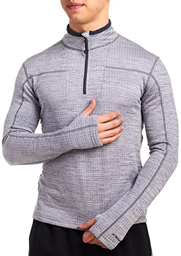 Fleece Turtleneck Micro (Terramar Men's 3.0 Ecolator Half Zip, Light Heather Grey, Small)