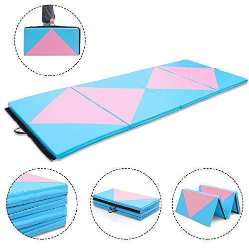 Giantex 4'x10'x2 Gymnastics Mat Thick Folding Panel For Gym Fitness with Hook & Loop Fasteners (Blue/Pink-Double Diamond)